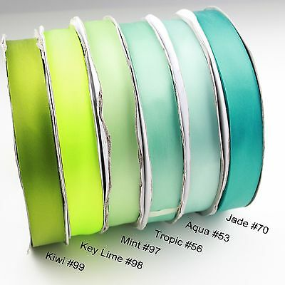 <Blue Green> 9-38mm 1mtr Satin Ribbon Scrapbook Craft Gift Wrap Hair Wedding