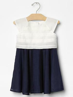 Baby Gap Girl Silk Colorblock Dress Off White Size 18-24 Months New With Tags