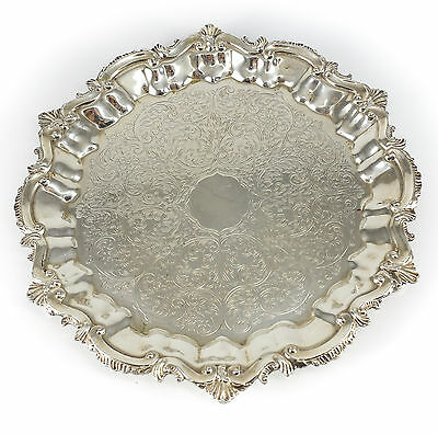 English Silverplate Footed Round Serving Platter, Early 20th Century Hand Chased