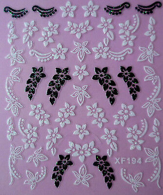 Black & White Flowers Strings 3D Nail Art Stickers UV Acrylic Tips Decoration