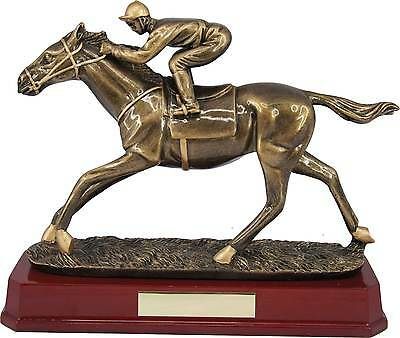 """Horse/Equestrian Trophies Electroplated Horse & Jockey Award 8"""" FREE Engraving"""