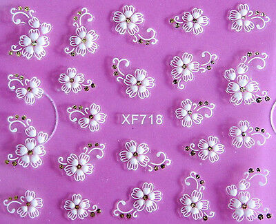 White Lace Flowers Scroll 3D Nail Art Sticker Decal UV Acrylic Tips Decoration