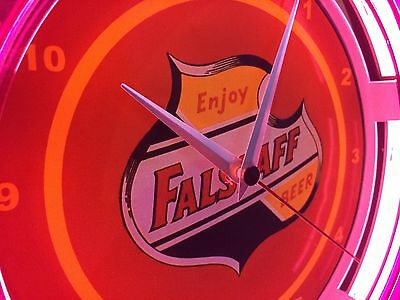 Falstaff Beer Bar Store Lighted Man Cave Advertsing Neon Clock Sign*