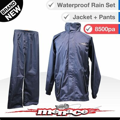 2pc Waterproof Rain Jacket and Pants - Stowaway Hood & Wrist Seals - Wet Weather