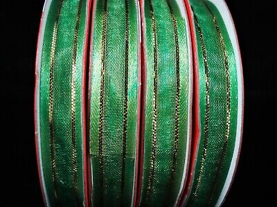Organza Gift Wrapping Ribbon x 3 Rolls 10mm Green/Gold Thread FREE POSTAGE