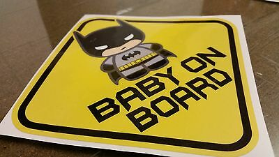 BABY ON BOARD BATMAN BABY CHIBI Warning WINDOW DECAL STICKER VINYL AWESOME CUTE