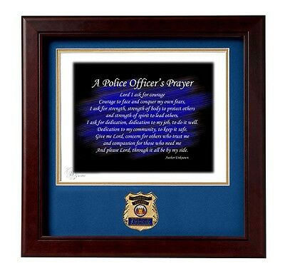 Law Enforcement Frame with Police emblem  Police Officer's Prayer Numbered Print