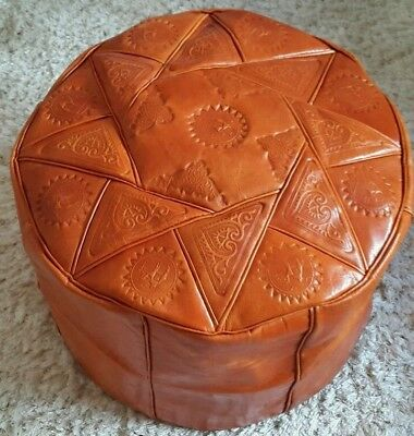 Camel Brown Handmade Moroccan Pouf Genuine Leather Pouffe Ottoman Footstool .