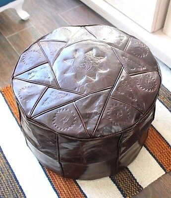 Brown Handmade Moroccan Pouf Genuine Leather Pouffe Ottoman Footstool Hassock.