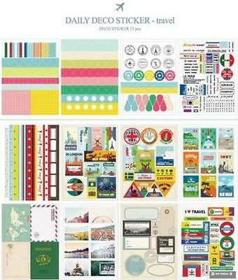 Travel style Sticker Deco Set - 12 Decoration sheets for Scrapbooking / Craft