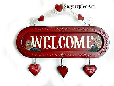 Yorkie Hand Painted Valentine Embossed Heart Sign Door Decoration SugarspiceArt