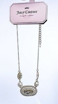 Juicy Couture Gold Tone Faux Pearls Simulated Crystals Vintage Style Necklace