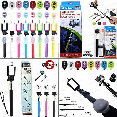 Extended Selfie Wired - Bluetooth Remote Shutter - Built-in Rechargeable Monopod