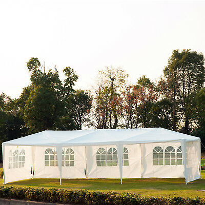 Outsunny 10x30 ft Wedding Party Tent Gazebo Canopy with 5 Removable Walls White
