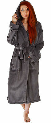 Hooded Plush Bathrobe Coral Fleece Spa Robe Shawl for Women and Men