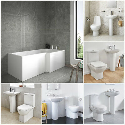 Right Hand Square 1670 Shower Bath Includes Screen With 2 Piece Bathroom Suite