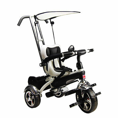 Kyootsi Kids Smart Trike 3 Wheel 4 in 1 Tricycle with Parent Handle  - White