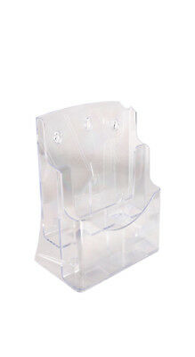 2  x  A4 Size Clear Acrylic 2-Pocket Brochures Display Holders Stands