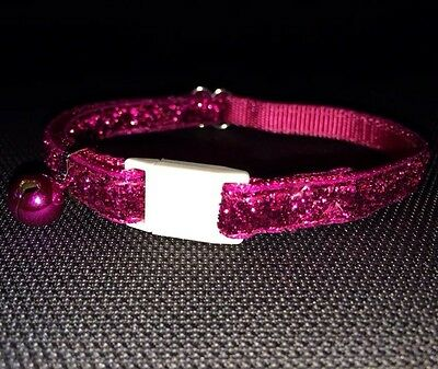 Cat Kitten Collar Adj Nylon PINK Glitter Quick Release Safety Buckle & Bell