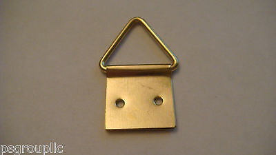 """50 BRASS PLATED TRIANGLE PICTURE HANGERS 1-1/4"""" H x 3/4"""" W + 100 NAILS + SAMPLES"""