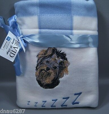 """Yorkie Fleece Embroidered Dog Blanket by Bevid 30""""x30"""""""