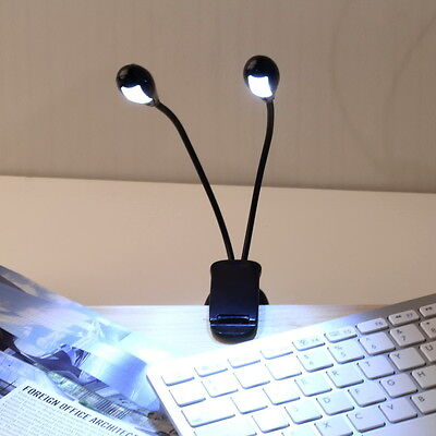 2 Dual Flexible Arms 4 LED Clip-on Light Lamp for Piano Music Stand Book HG
