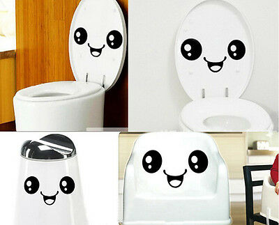 Creative Toilet Smiling Face Bathroom DIY Decal Funny Vinyl Sticker Wall Art