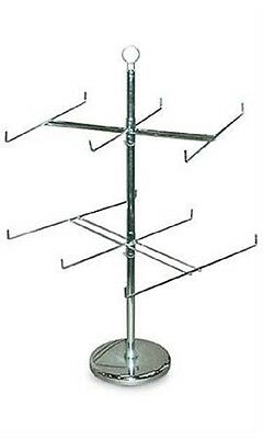 "(LOT OF TWO) 2 TIER SPINNER RACK 26"" Dia. x 25"" H (Silver)"