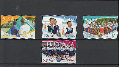 Barbados 2010 MNH Cent Girl Guiding 4v Set Scouting Brownies Guides Camping