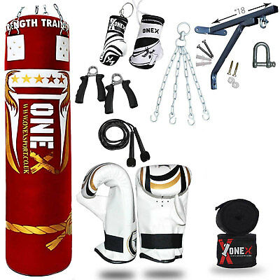 14 Piece Boxing Set 5ft Filled Heavy Punch Bag Gloves,Chains,Bracket,Kick Pad