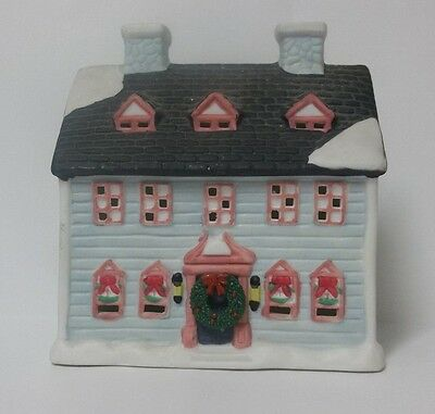 Blue House for Ceramic Christmas Village Light Up Capable Added Wreath 6""