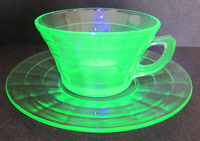 Depression Glass Cup and Saucer Block Optic Anchor Hocking Green c.1930