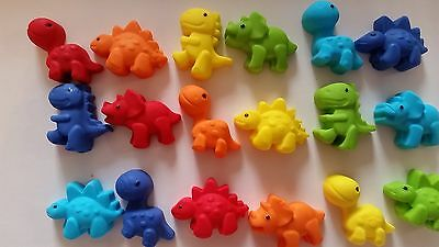12 x Edible Dinosaur cake topper. cupcake decorations. mixed colours & shapes