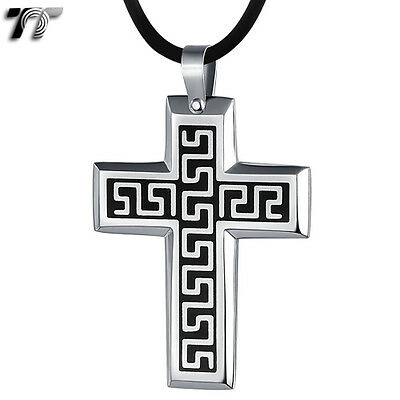 TTstyle Stainless Steel Greek Key Cross Pendant Free Chain Medium Size