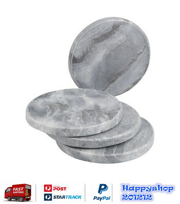 Set of 4 Round Marble Coasters Grey Natural Pattern