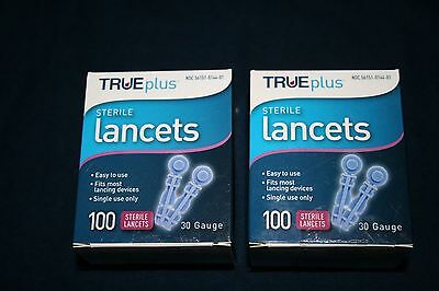 200 TRUEplus Sterile Diabetic Lancets 30 Gauge - Fits Most Lancing Devices