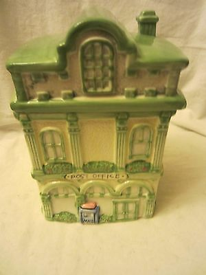 Ceramic Green & White Cookie Jar Post Office Victorian Building