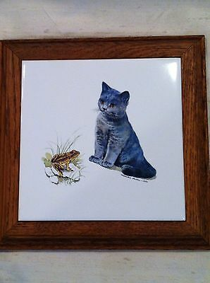 Monika Heller Cole Cat Kitten & Frog Tile Trivet Hot Plate Vintage Art