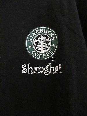 Black Starbucks T-shirt Mermaid Logo Shanghai China SZ Jr. Large / Women Med