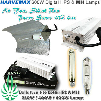 600w Digital Ballast HPS MH Lamp Large Wing Reflector Hydroponic Grow Lights Kit