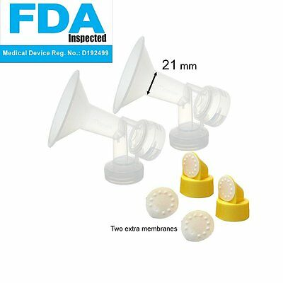 21 mm 2xOne-Piece Small Breastshield w/ Valve and Membrane for Medela Breast