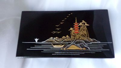 Vintage Japanese Okinawa Bembo Lacquer Ware  Box with Floral Lid* Signed on back
