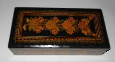 OLD LACQUERED WOODEN BOX MEXICAN FOLK ART - OLINALA GUERRERO