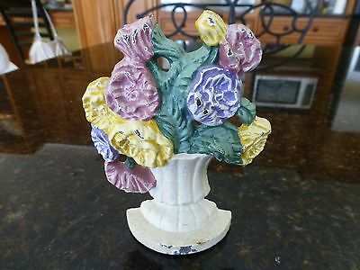 Vintage Cast Iron flower bouquet paper weight bookend shelf mantle door stop
