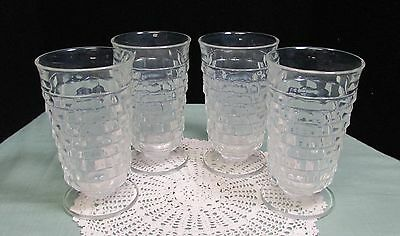 Fostoria American Footed Whitehall Clear Tumbler Glasses Vintage Lot of  4