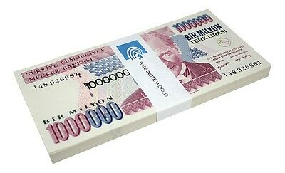 Turkey 1,000,000 (Million) Lira X 100 Pieces (PCS), 2002, P-213, UNC, Prefix-T
