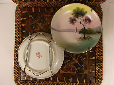 2 Noritake Japanese Porcelain Antique Sailboat Gift Plate Wall Decor [Very Rare]