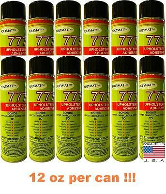12 Polymat 777 cans Foam Fabric Carpet Upholstery Inst.Tack Spray Glue Adhesive