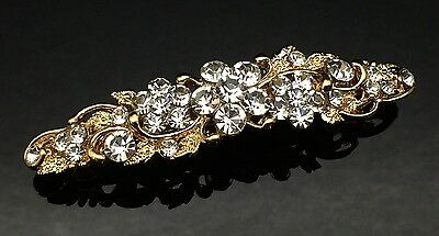 Exquisite Formal Wedding Crystal Gold Hair Clip Pin Barrette Comb Rhinestone 7cm