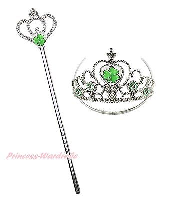 St Patrick's Day Clover Tiara Crown Wand Party Princess Girl Accessory Costume